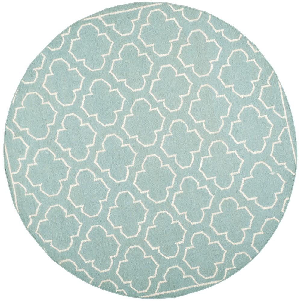 7' Woven Quatrefoil Design Round Area Rug Blue - Safavieh, Blue/Ivory