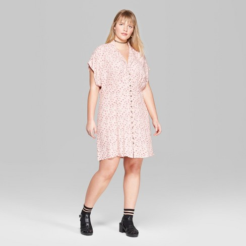 Womens Plus Size Floral Short Sleeve Collared Button Down Dress