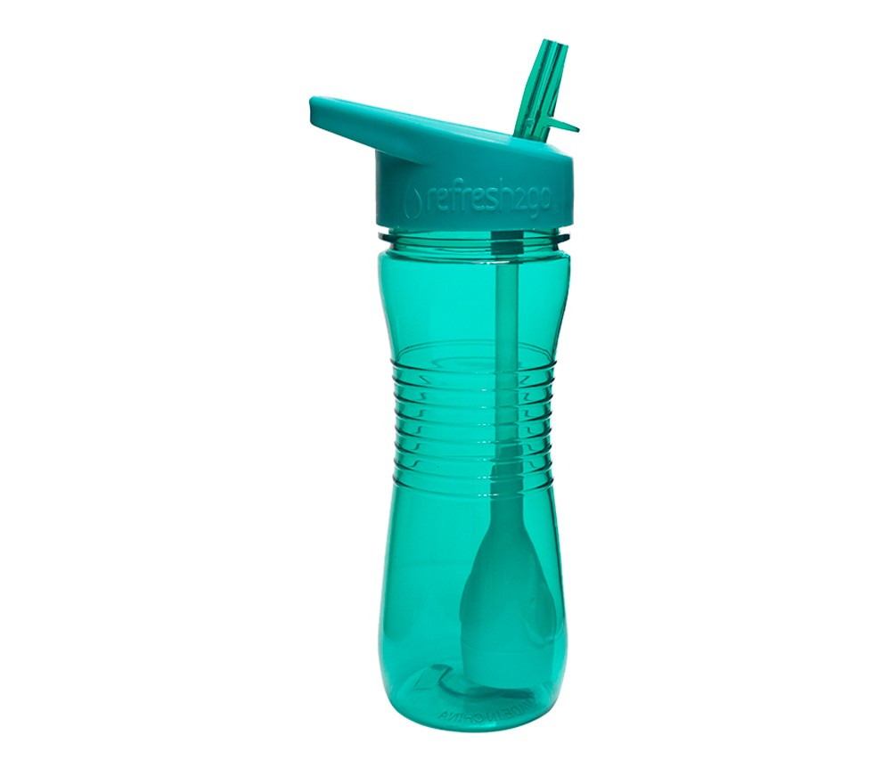Image of RefresH2Go Filtered Water Bottle 12oz Teal, Turquoise
