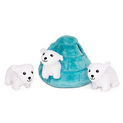 ZippyPaws - Arctic Pals Burrow, Interactive Squeaky Hide and Seek Plush Dog Toy - Polar Bear Igloo