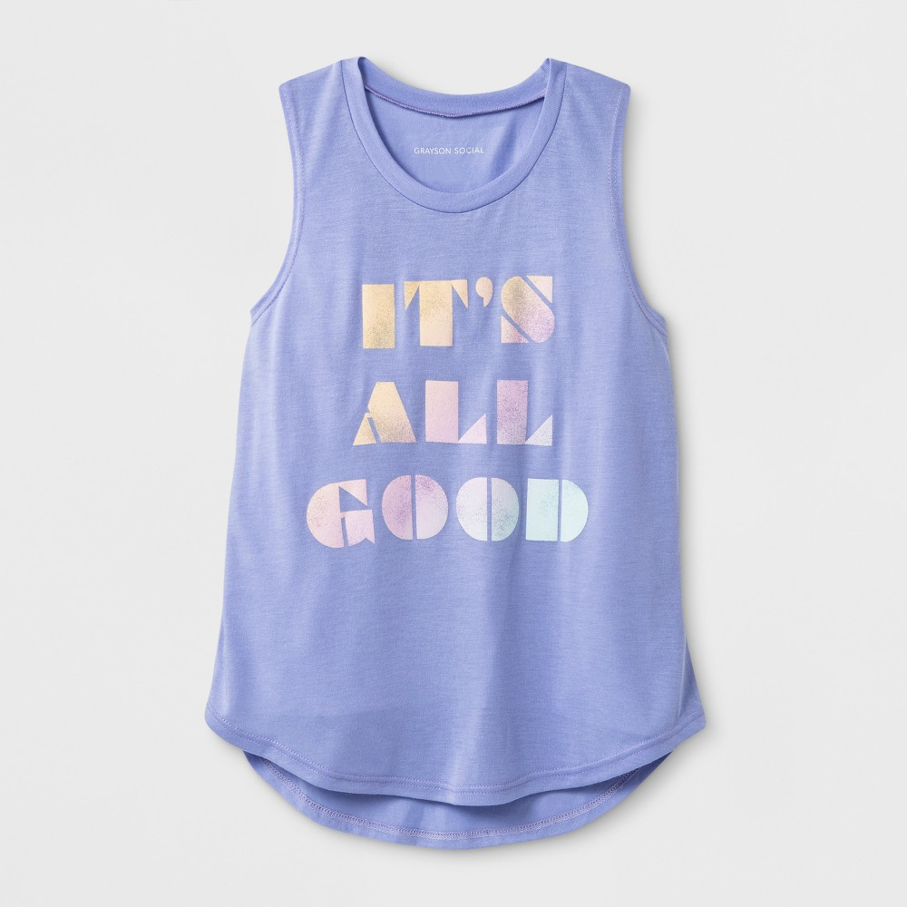 Grayson Social Girls' 'It's All Good' Graphic Tank Top - Purple S