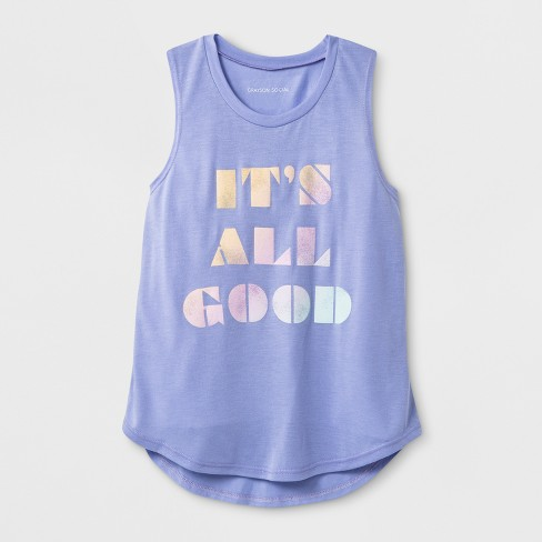 Grayson Social Girls' 'It's All Good' Graphic Tank Top - Purple - image 1 of 1