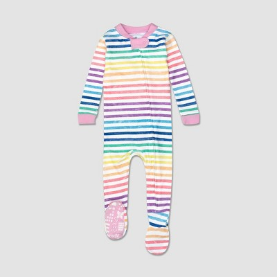 Honest Baby Girls' Striped Snug Fit Footed Pajama - 12M