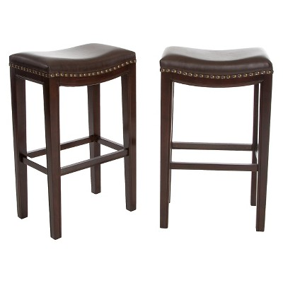 """Set of 2 30"""" Avondale Backless Barstools Brown Bonded Leather - Christopher Knight Home"""