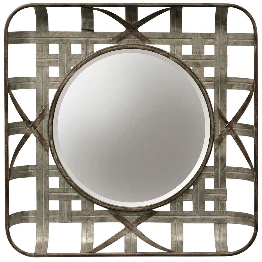 "Image of ""23.62"""" Metal Grid Wall Mirror Silver - StyleCraft"""