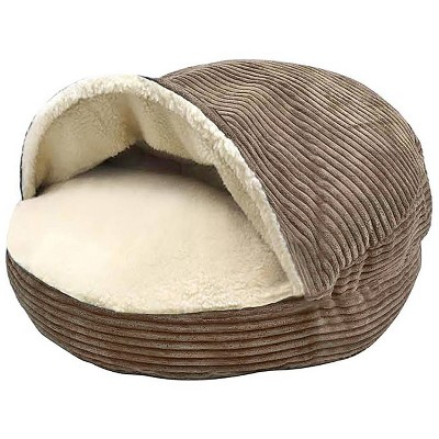 Precious Tails Cozy Corduroy Sherpa Lined Cave Dog Bed - Coffee