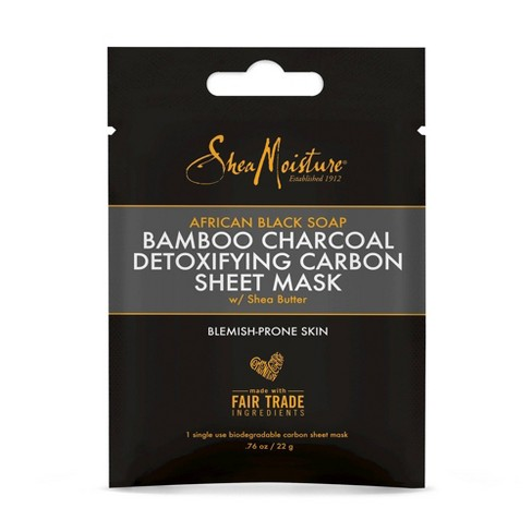SheaMoisture African Black Soap Bamboo Charcoal Detoxifying Carbon Sheet Face Mask - 0.76oz - image 1 of 2