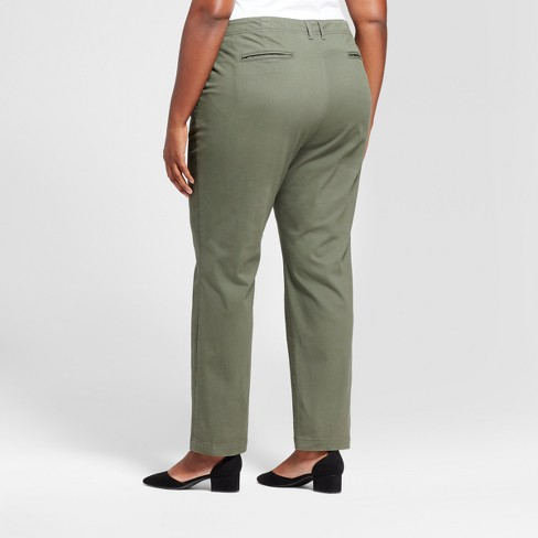 ae79467f377 Women s Plus Size Slim Chino Pants - A New Day™ Olive 24W   Target