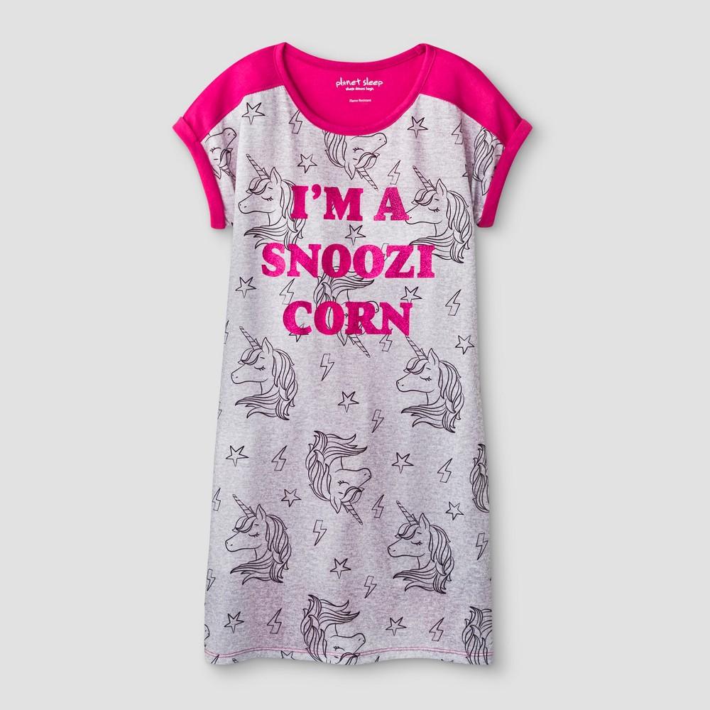 Planet Sleep Girls' Snoozicorn Nightgown - Pink/Heather Gray XS