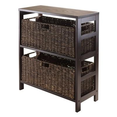 3pc Granville Set Storage Shelf with Baskets Espresso Brown - Winsome