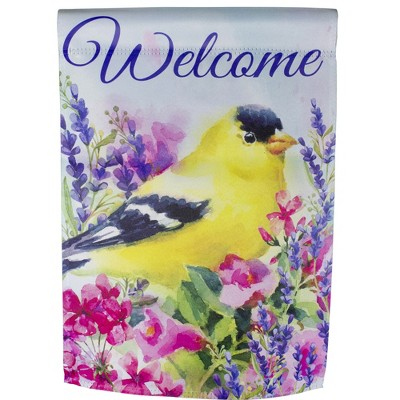 "Northlight Welcome Yellow Finch Spring Outdoor Garden Flag 12.5"" x 18"""