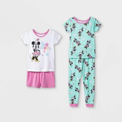 Toddler Girls' 4pc 100% Cotton Minnie Mouse Snug Fit Pajama Set - White