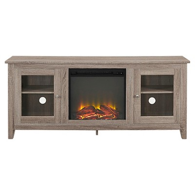 58  Wood Media TV Stand Console with Fireplace - Driftwood - Saracina Home