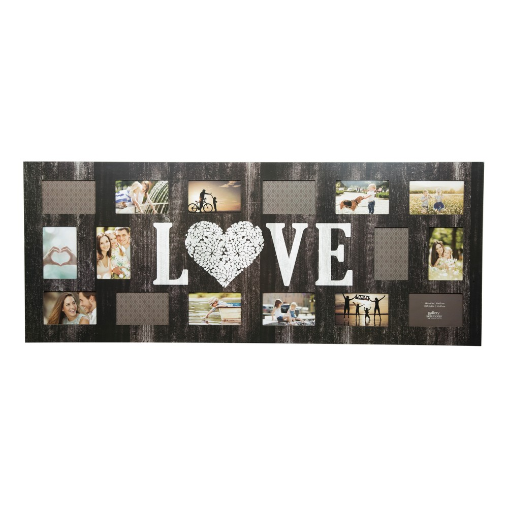 Image of Multiple Image 16 Opening Love Collage Frame - Gallery Solutions, Black