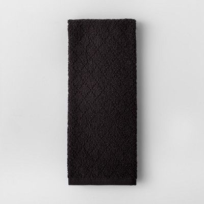 Black Solid Diamond Weave Kitchen Towel - Made By Design™