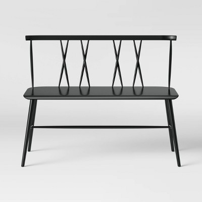 Becket Metal X Back Dining Bench Black - Project 62™