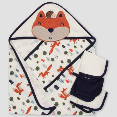 Gerber Baby Boys' 4pc Fox Bath Towel and Washcloth Set - Off-White