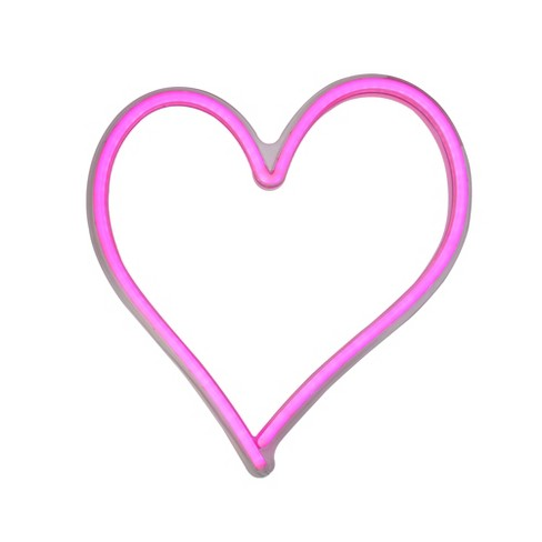 """Northlight 13.5"""" Neon Style LED Lighted Valentine's Day Heart Window Silhouette Sign - Pink - image 1 of 3"""