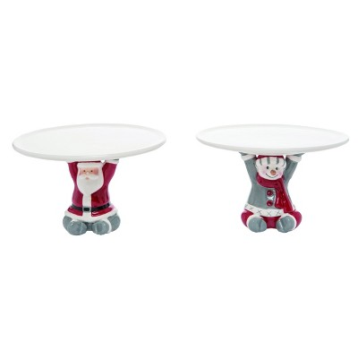 Transpac Dolomite 7 in. Red Christmas Nordic Pedestal Set of 2