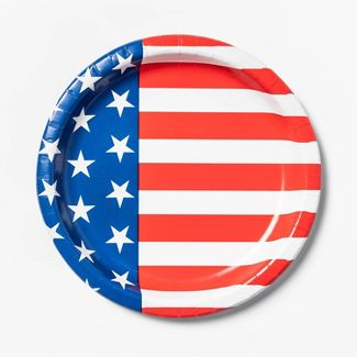 10ct 4th of July Stars and Stripes Dinner Plate - Sun Squad™