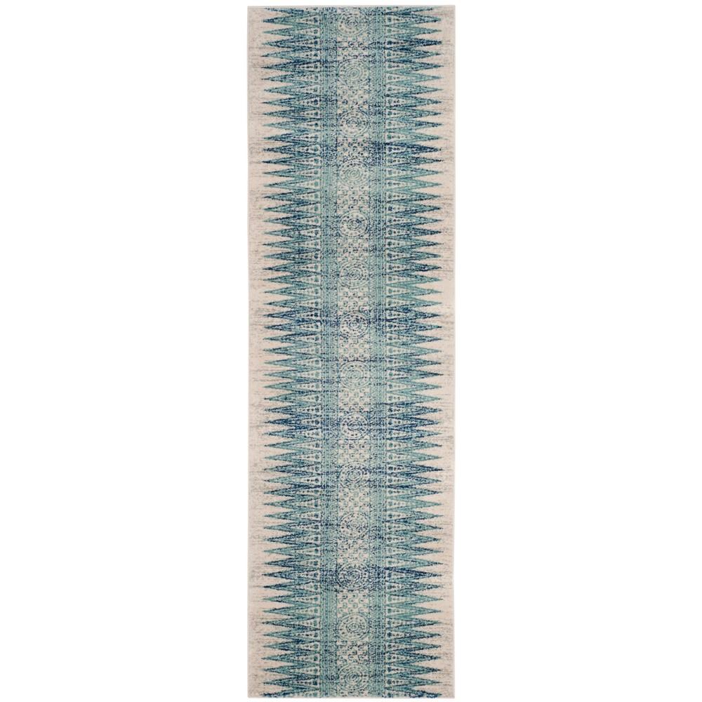Tribal Design Loomed Runner Rug Ivory/Turquoise