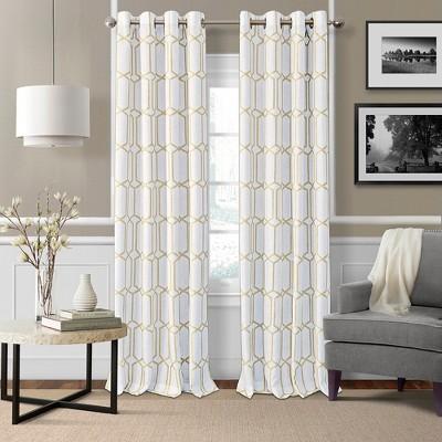 Kaiden Geometric Room Darkening Window Curtain Panel - Elrene Home Fashions