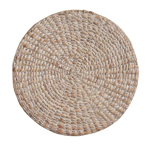 Split P Braided Hyacinth Round Placemat Set - White - image 1 of 4