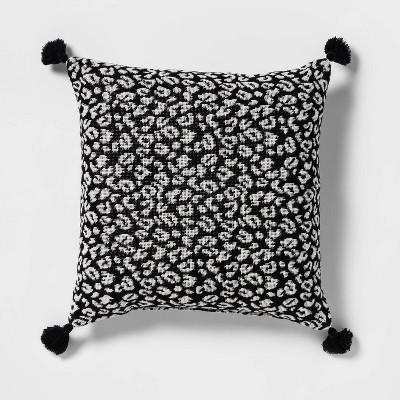 Textured Woven Animal Pattern Square Throw Pillow Black/Cream - Opalhouse™