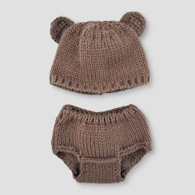 Baby Boys' Bear Hat & Diaper Cover Set - Cloud Island™ Brown
