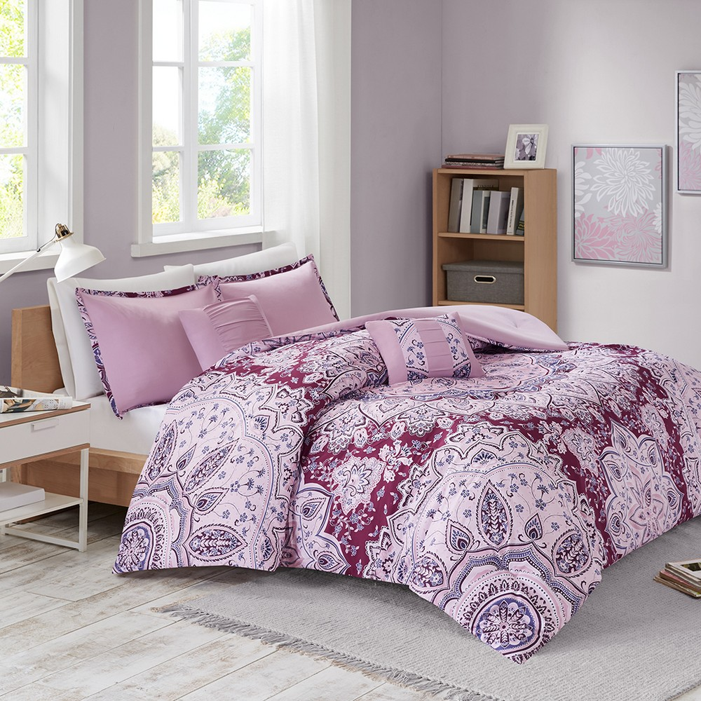 Twin/Twin XL 4pc Mira Printed Comforter Set Berry, Red