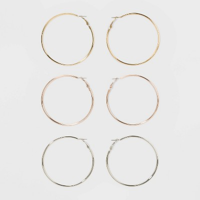 Smooth Hoop Earring Set 3ct - Wild Fable™