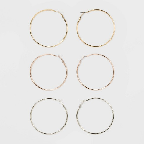 Smooth Hoop Earring Set 3ct - Wild Fable™ - image 1 of 3