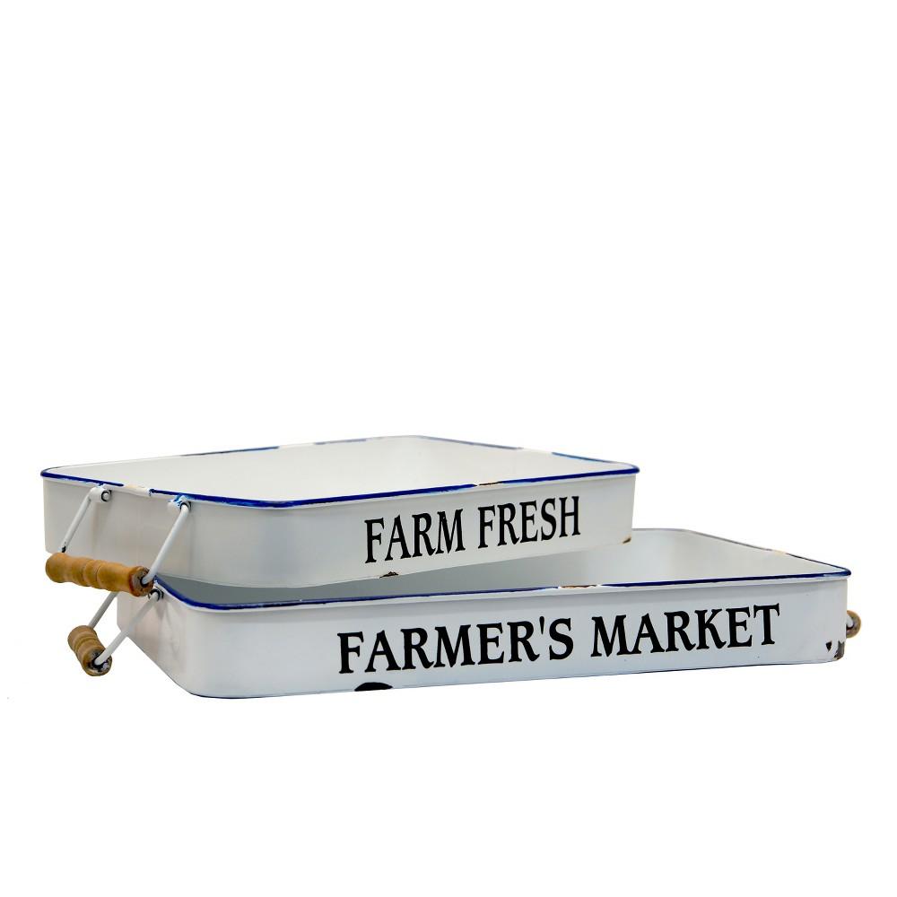 2ct White Farm Trays - Vip Home & Garden