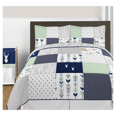 Navy & Mint Woodsy Comforter Set (Full/Queen) - Sweet Jojo Designs