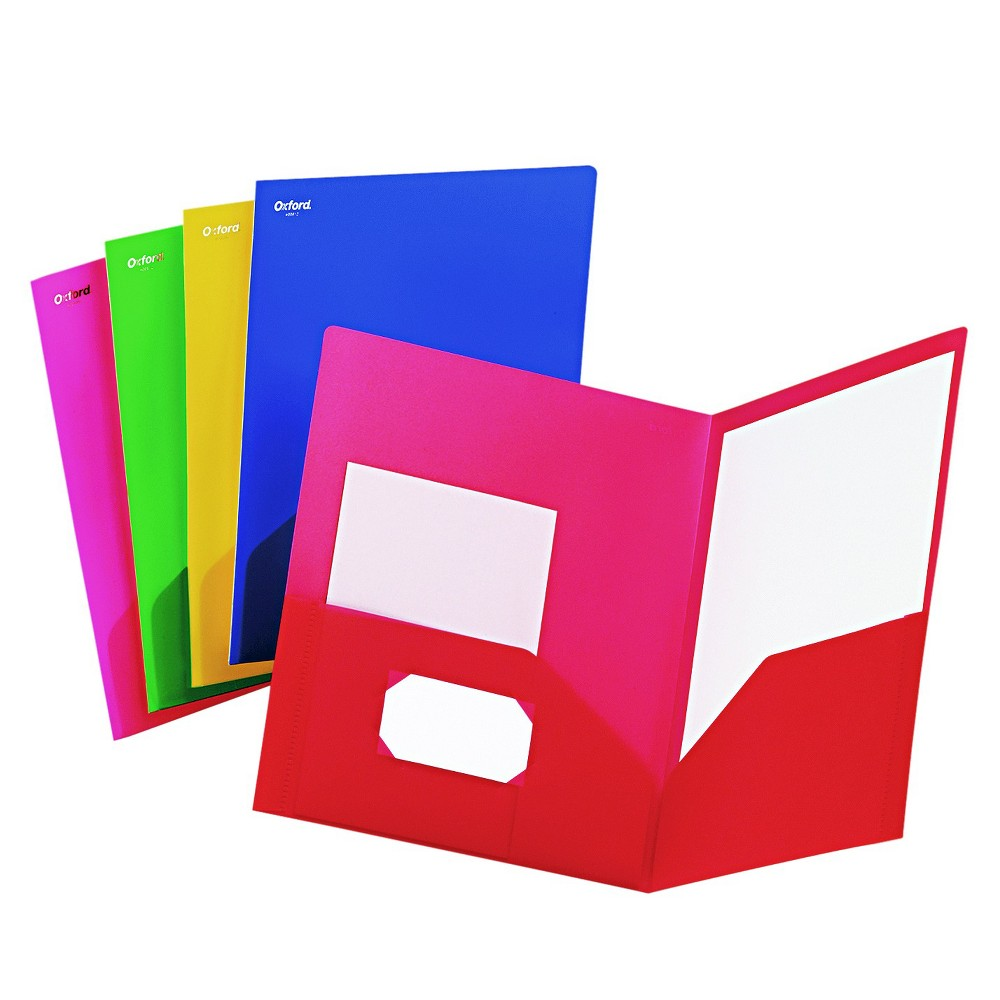 Image of Oxford Fashion PolyPort Twin-Pocket Plastic Folder Portfolio, Polypropylene - Multi-Colored (25 Per Box)
