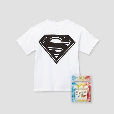 Kids' DC Comics Superman Short Sleeve Graphic T-Shirt with Tie-Dye Kit - White