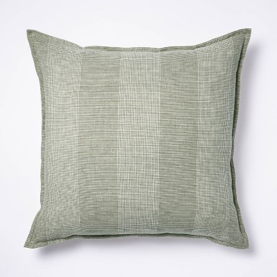 Oversize Linen Striped Square Throw Pillow Green - Threshold™ designed with Studio McGee