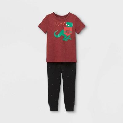 Toddler Boys' Valentine's Day Dino Knit Fleece Short Sleeve Top & Bottom Set - Cat & Jack™ Maroon/Black