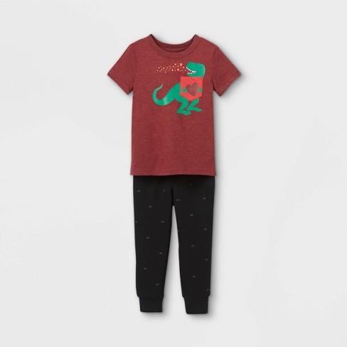 Toddler Boys' Valentine's Day Dino Knit Fleece Short Sleeve Top & Bottom Set - Cat & Jack™ Maroon/Black - image 1 of 2