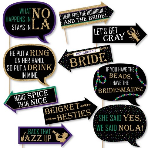 Big Dot of Happiness Funny Nola Bride Squad - New Orleans Bachelorette Party Photo Booth Props Kit - 10 Piece - image 1 of 4