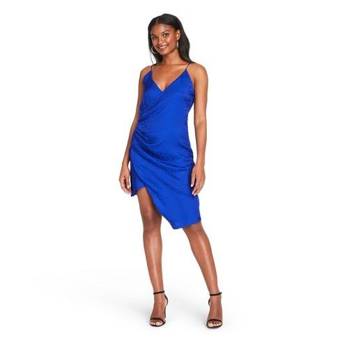 Women's Leopard Print Wrap Slip Dress - CUSHNIE for Target (Regular & Plus) Royal Blue  - image 1 of 4
