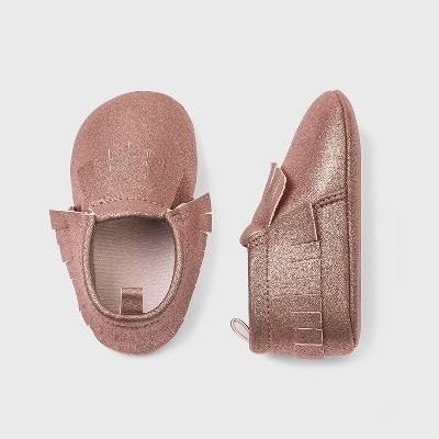 Baby Girls' Faux Leather Fringe Moccasin Shoes - Cat & Jack™ 0-3M