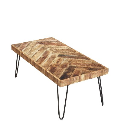 Mindful Living Rustic Farmhouse Mid Century Modern Fusion Mango Wood Top and Iron Hairpin Legs Chevron Pattern Rectangular Accent Coffee Table, Beige