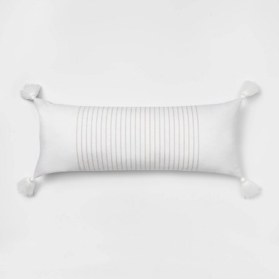 Oblong Oversized Simple Woven Stripe Decorative Throw Pillow White/Natural - Threshold™