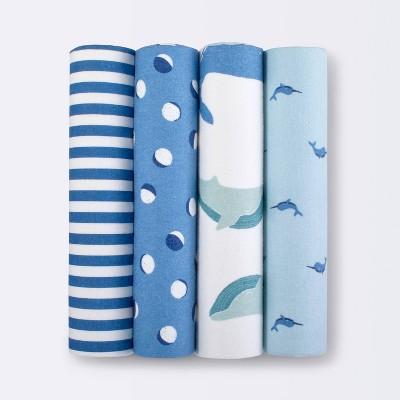 Flannel Baby Blankets Sleepy Tides 4pk - Cloud Island™