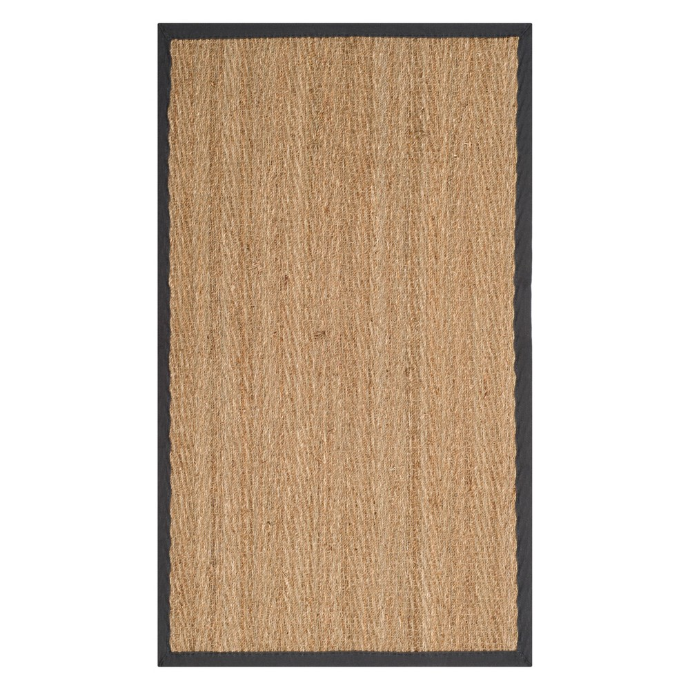 3'X5' Solid Loomed Accent Rug Natural/Dark Gray - Safavieh