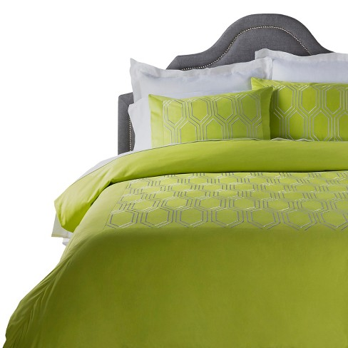 Bely Geometric Duvet Cover Lime - Surya® - image 1 of 1