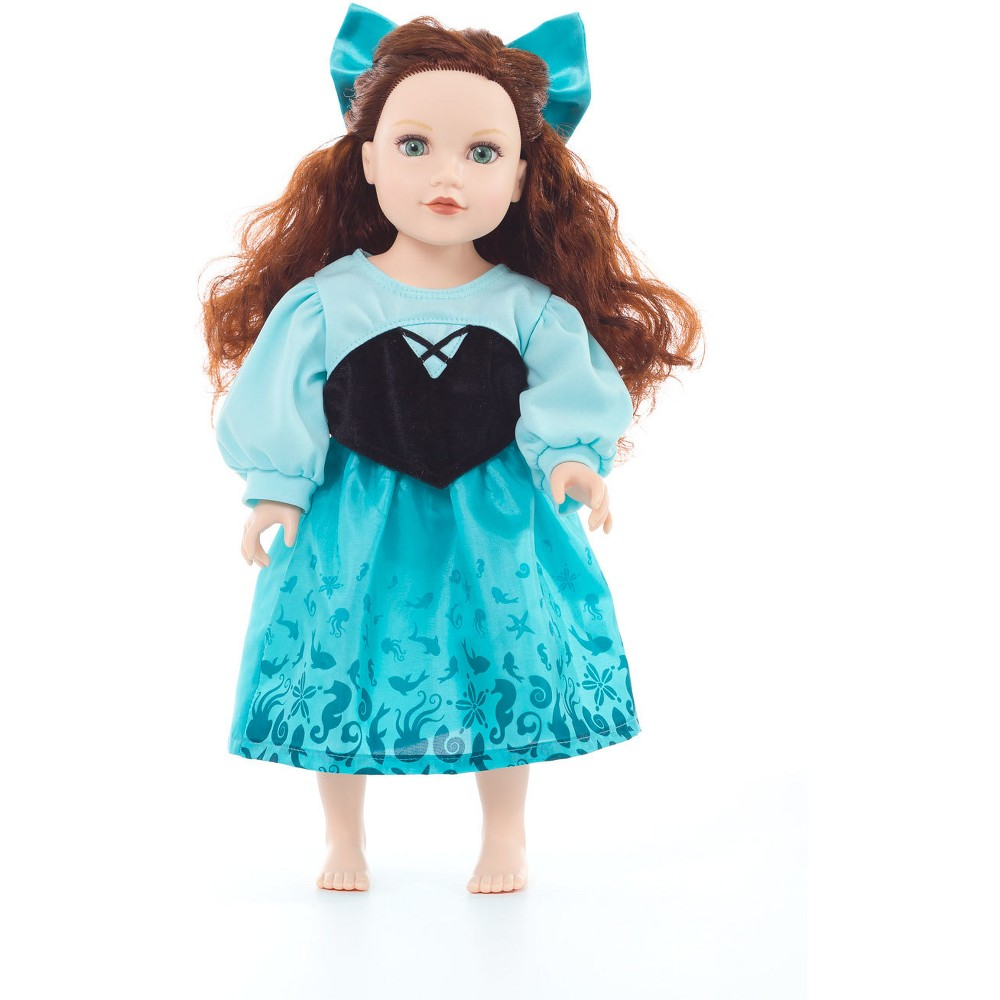 Little Adventures Doll Dress Mermaid Day Dress with Hair Bow