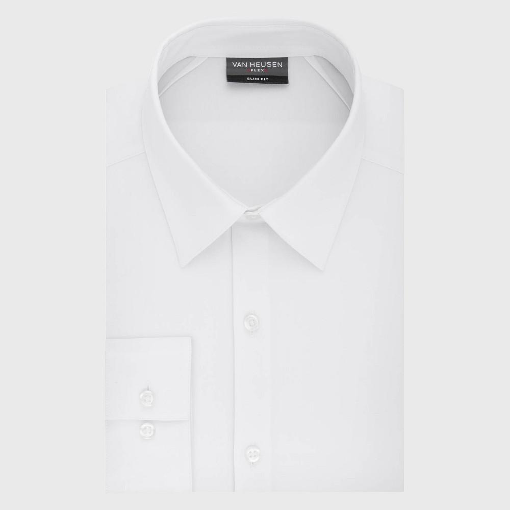Men 39 S Slim Fit Long Sleeve Flex Button Down Shirt Van Heusen White 17 34 35