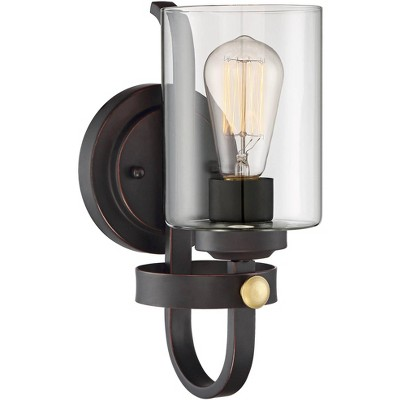 """Franklin Iron Works Rustic Farmhouse Wall Light Sconce LED Oiled Bronze Hardwired 12"""" High Fixture Glass Bedroom Bathroom Hallway"""